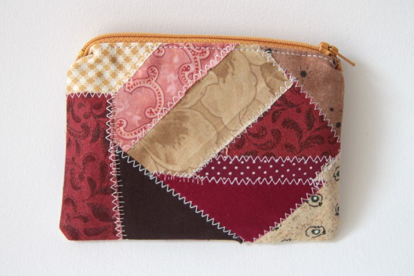 A scrap fabric zipper pouch