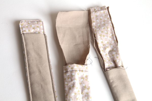 Three half-completed thin storage pouch experiments