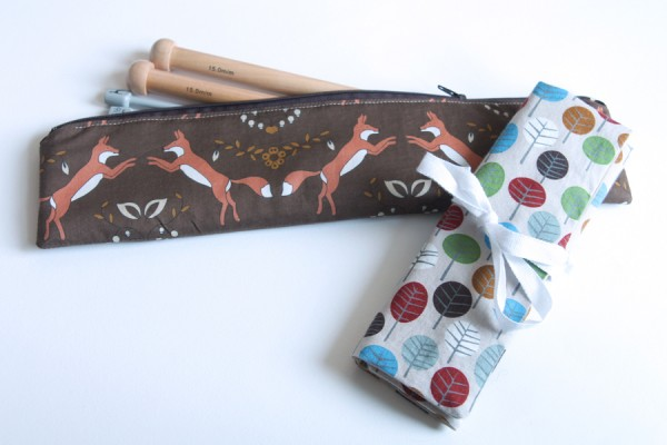 A zip straight knitting needle pouch and a folded DPN case