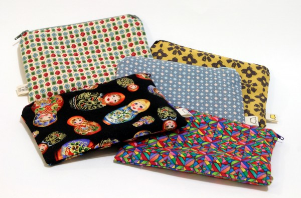 Five pencil cases with sew-in labels