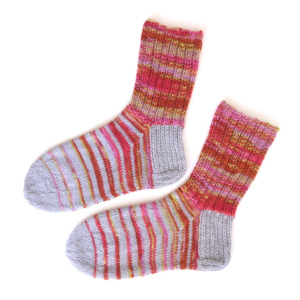 A pair of striped hand knit socks