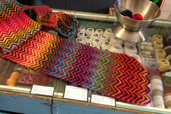 A beautiful knit zigzag scarf one of the people at Eiran Langat was working on.